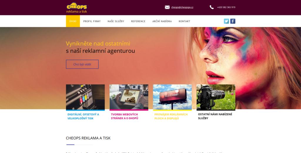 Webové stránky CHEOPS tiskárny a reklamy.