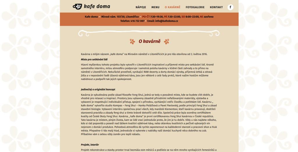 Webové stránky kavárny Kafe doma