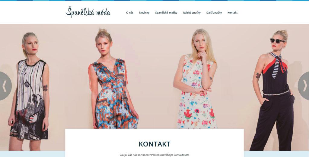 Webové stránky oděvní firmy.