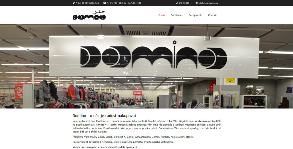 Webové stránky obchodu s oblečením.