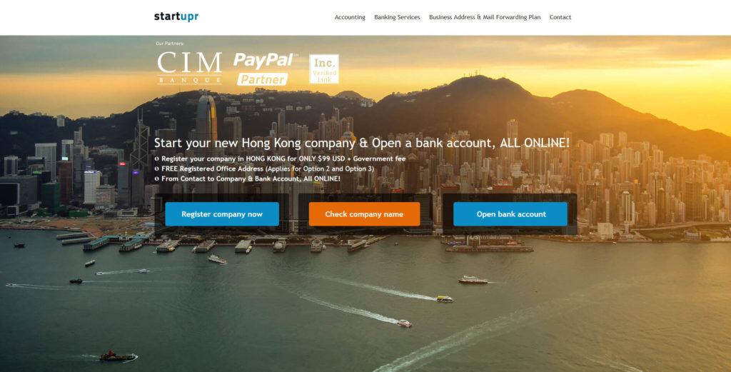 Webové stránky společnosti StartUpr Hong Kong Limited.